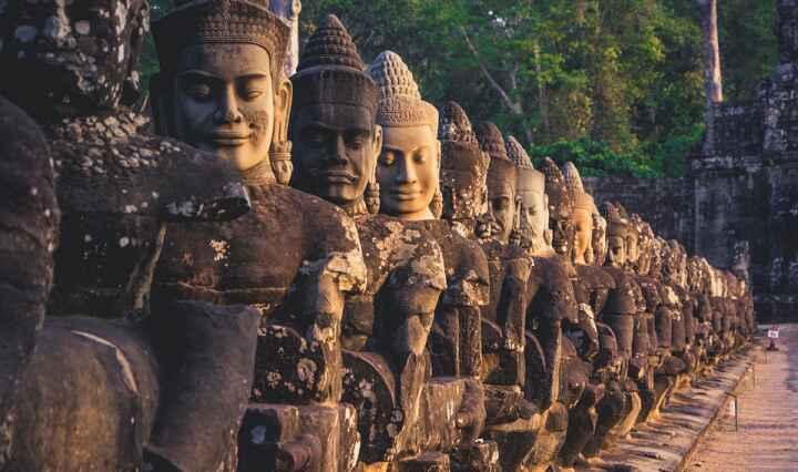 ancient statues from angkor wat