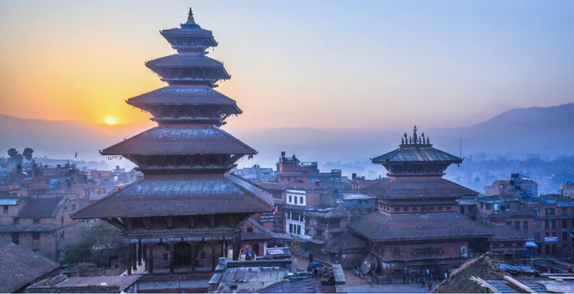 Sunrise over ancient temples in Bhaktapur, UNESCO World Heritage Site on the eastern corner of the Kathmandu Valley, Bagmati, Nepal