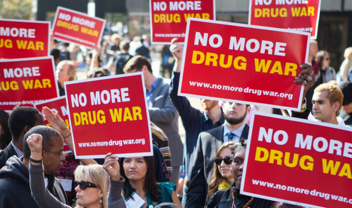 Protest against the war on drugs in America