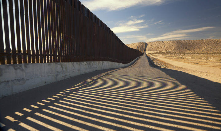 U.S. Border Wall Fence separating United States and Mexico