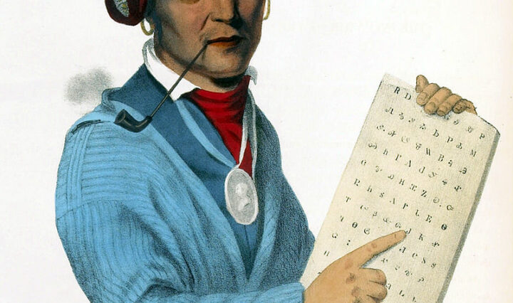 Painting of Sequoyah (circa 1770–1843), inventor of the Cherokee syllabary.