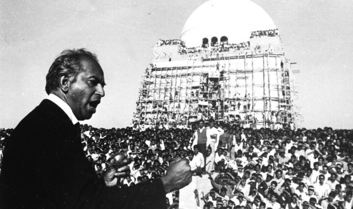 In this February 17, 1969 file photo, former Pakistan foreign minister Zulfikar Ali Bhutto speaks to supporters at the mausoleum of the Quaid-e-Azam, in Karachi.