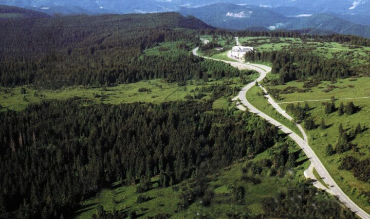 The Black Road Ridgeway running through the Black Forest, with green hills and evergreen trees on either side.