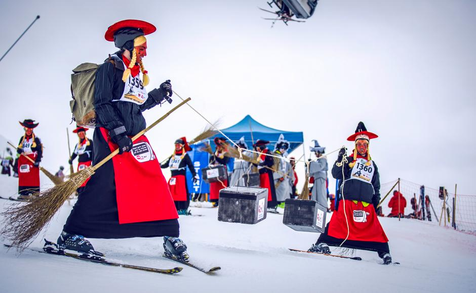 Skiers at the Belalp Witches' Race