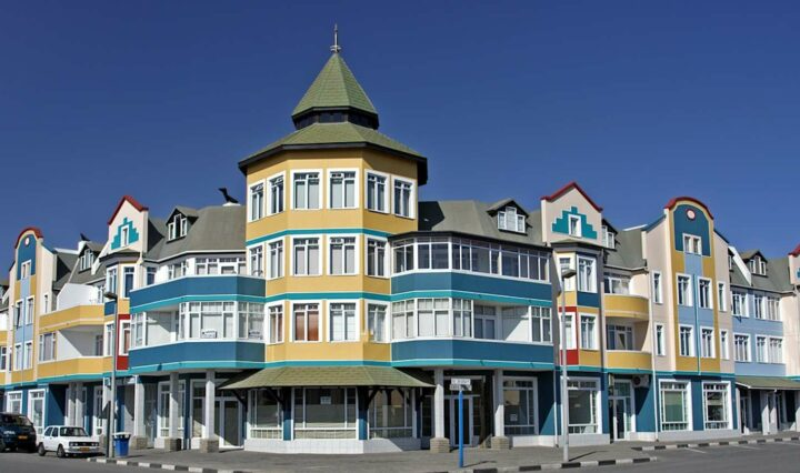 colourful colonial buildings in Swakopmund, Namibia