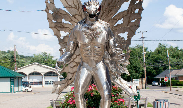 Metal statue of the Mothman in Point Pleasant
