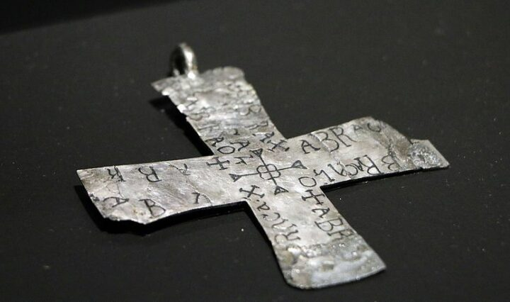 A silver talisman from the 6th or 7th century, inscribed with words similar to abracadabra