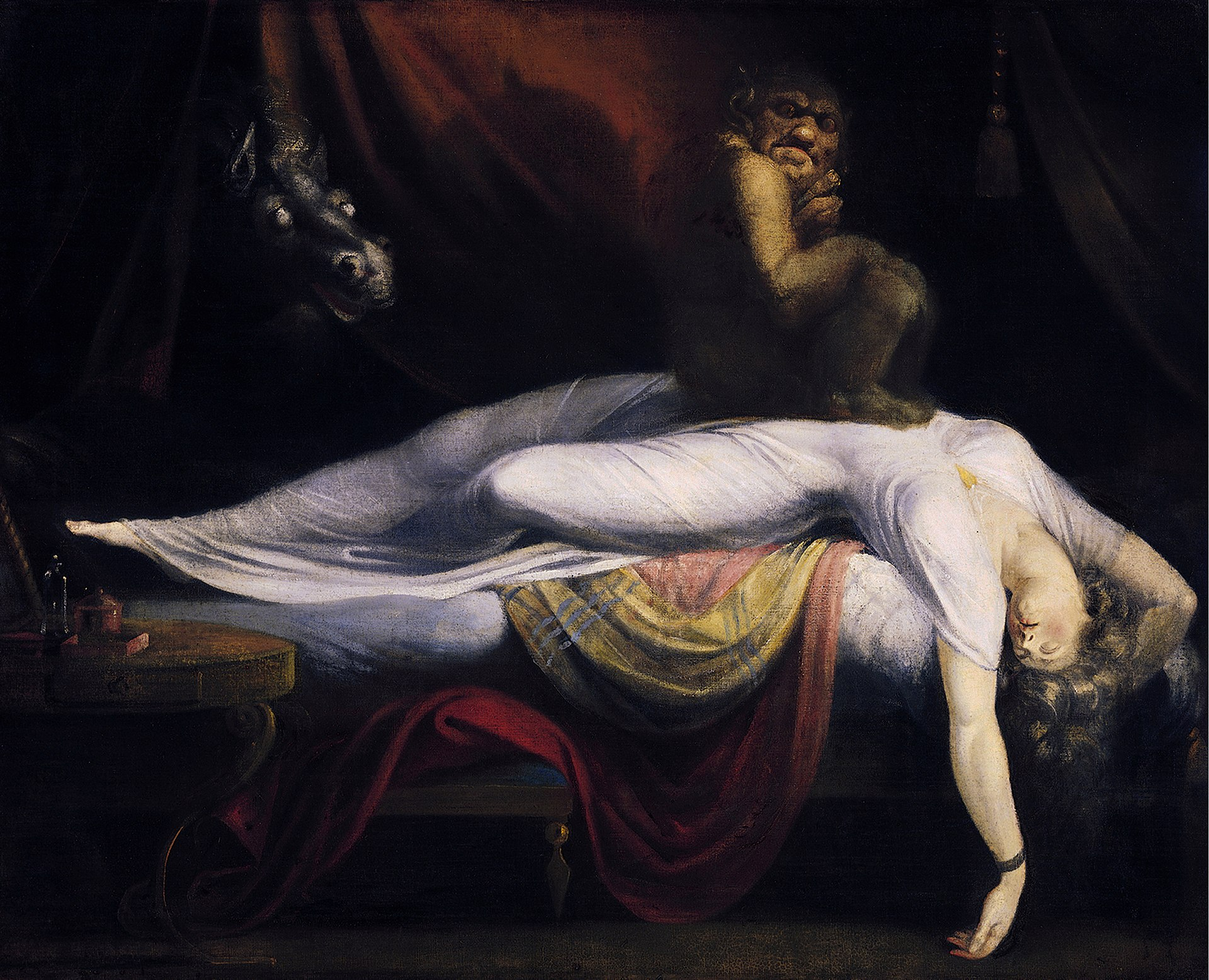 """This painting by John Henry Fuseli, titled """"The Nightmare"""", purportedly depicts sleep paralysis, here shown by a demon visiting and sitting on the chest of a sleeping person."""