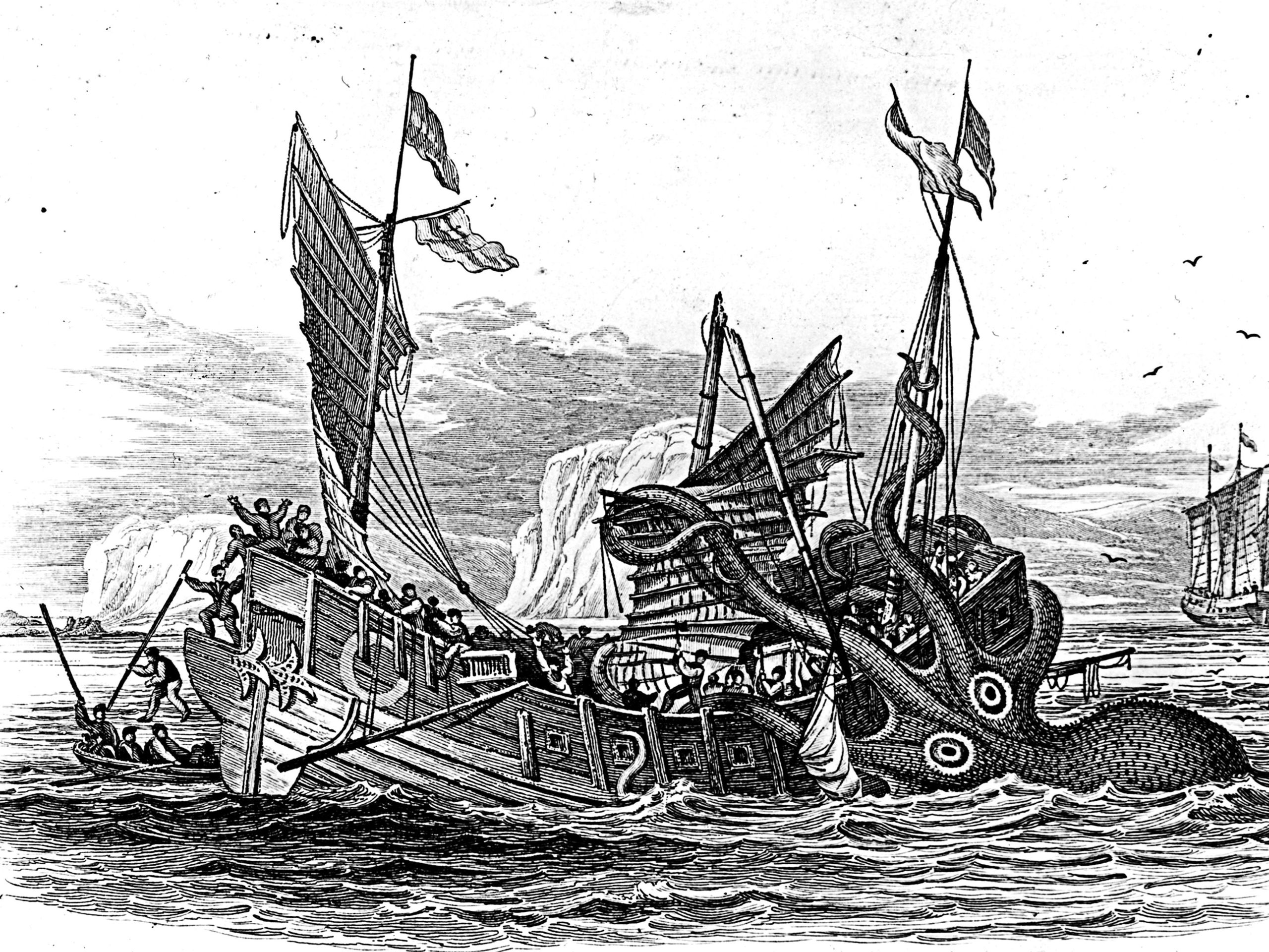 This illustration from 1810 shows a Kraken devouring a ship at sea.