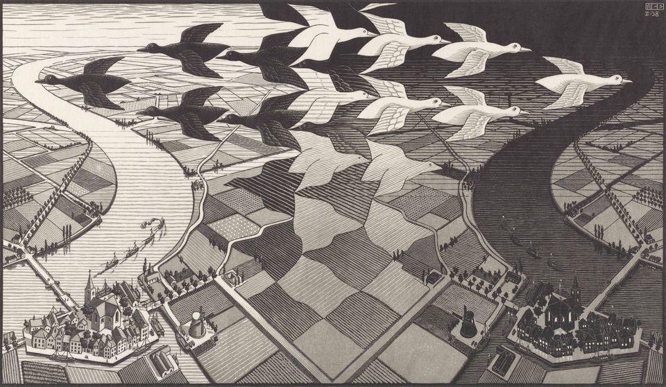M.C. Escher's Day and Night (1938)