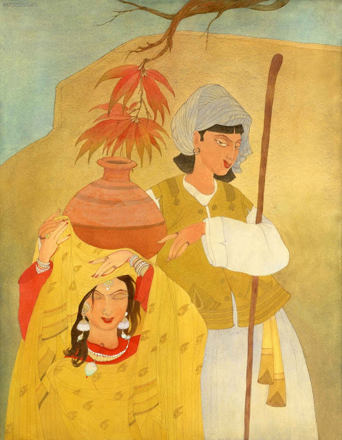 Heer Ranjha, shown here as utterly happy, enjoying in the company of one another.