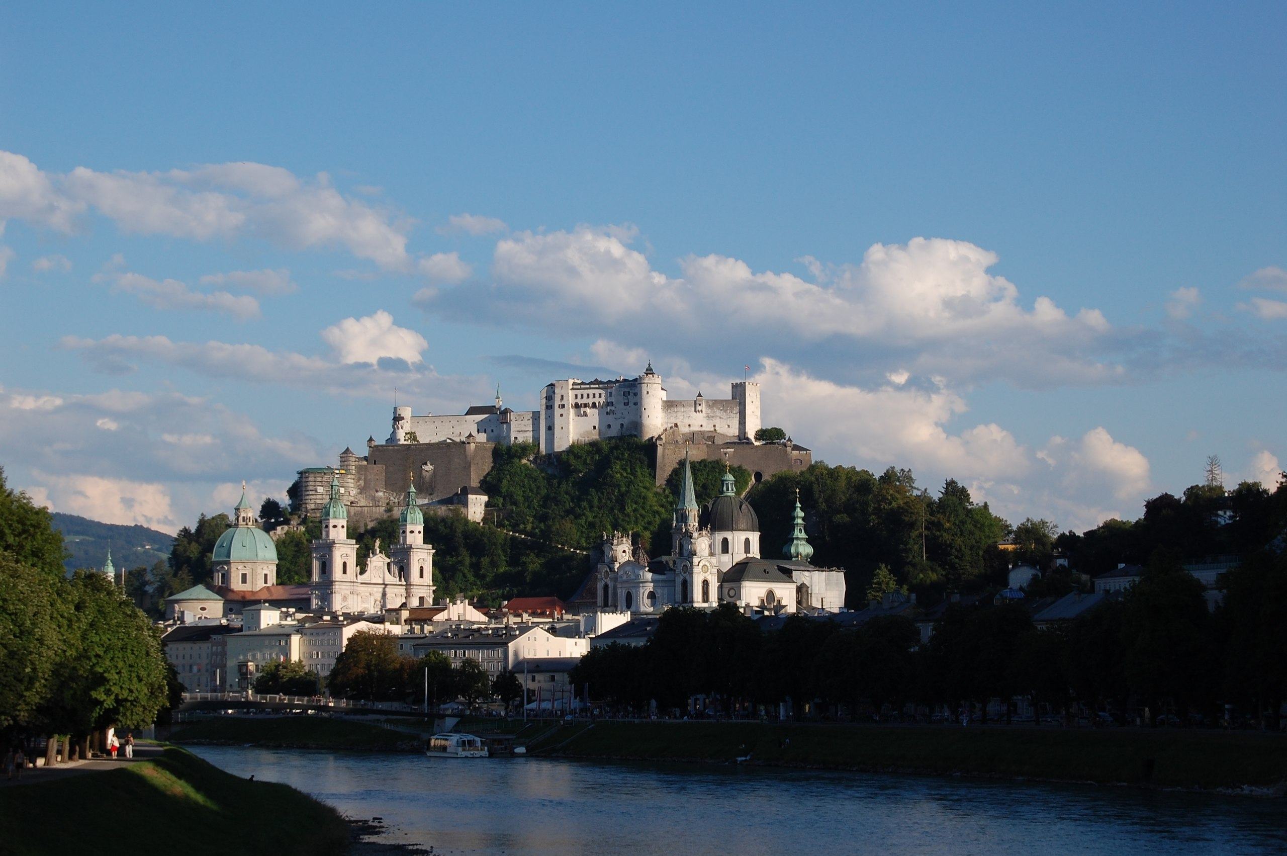 This image shows the Hohensalzburg Fortress perched atop the Festungsberg in Salzburg.