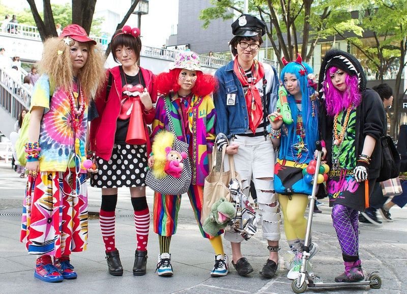 A group of teenagers in colourful Harajuku style.