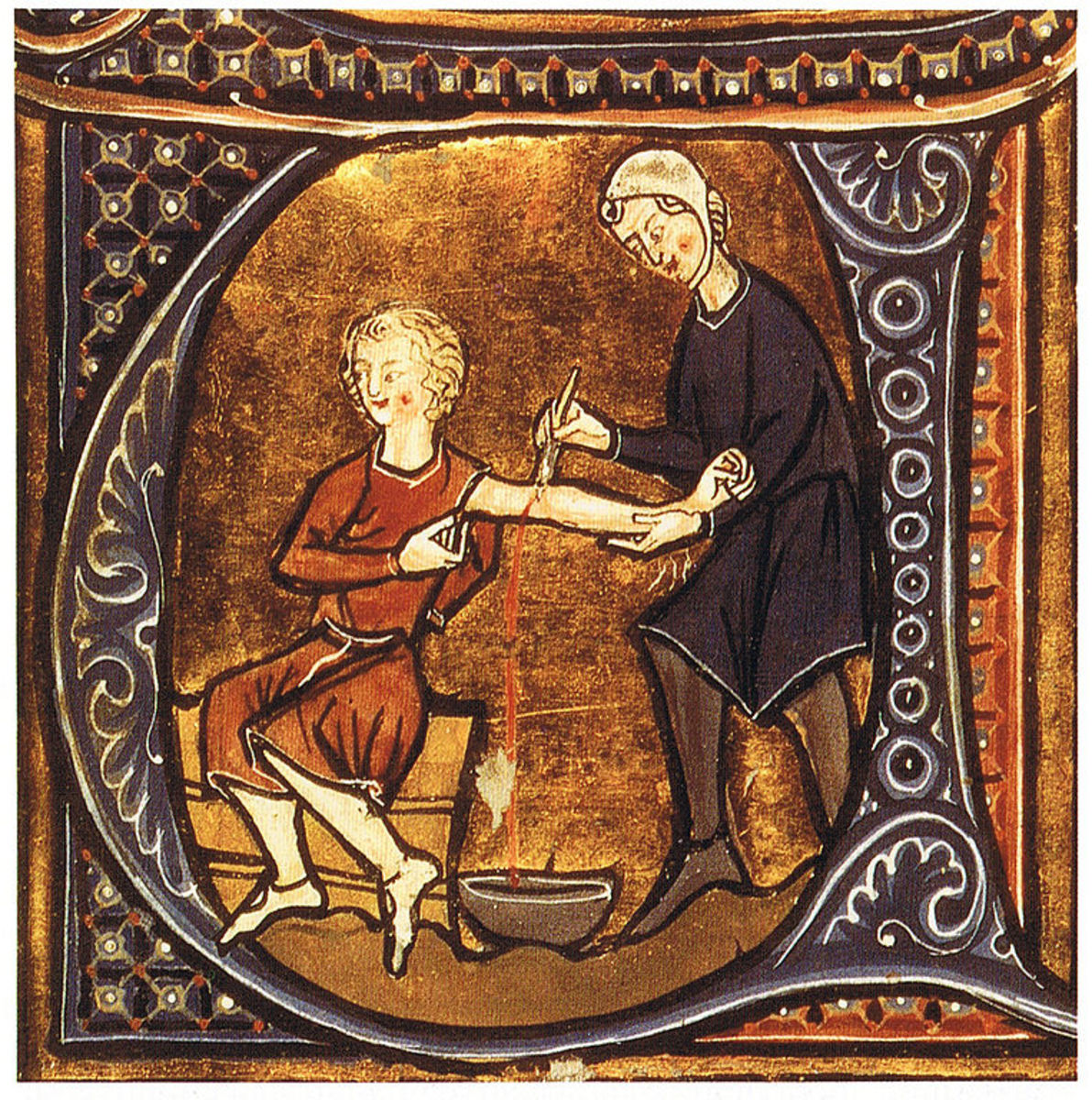 A doctor is administering ancient medicine to a patient.