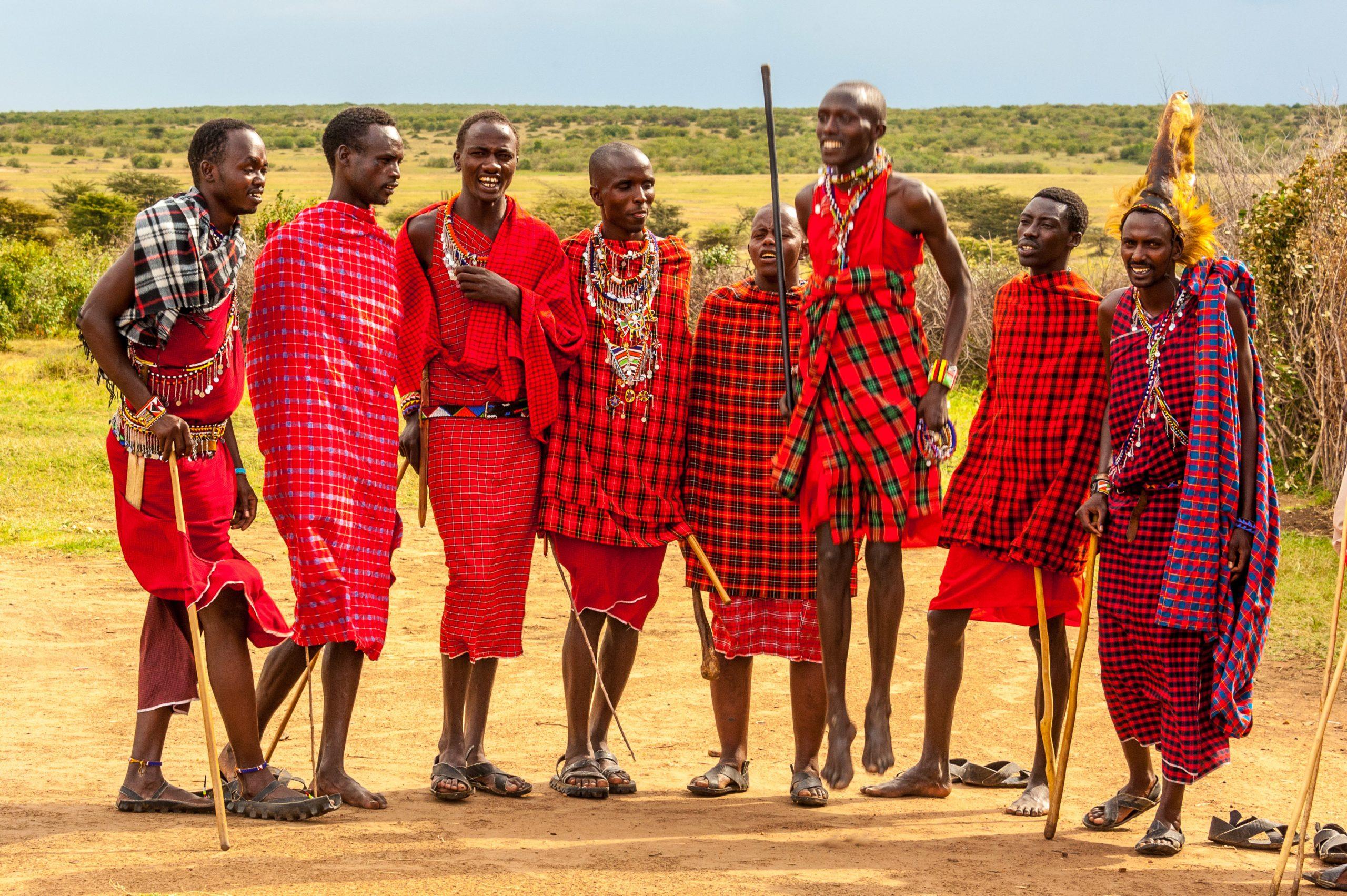 maasai people wearing red shuka