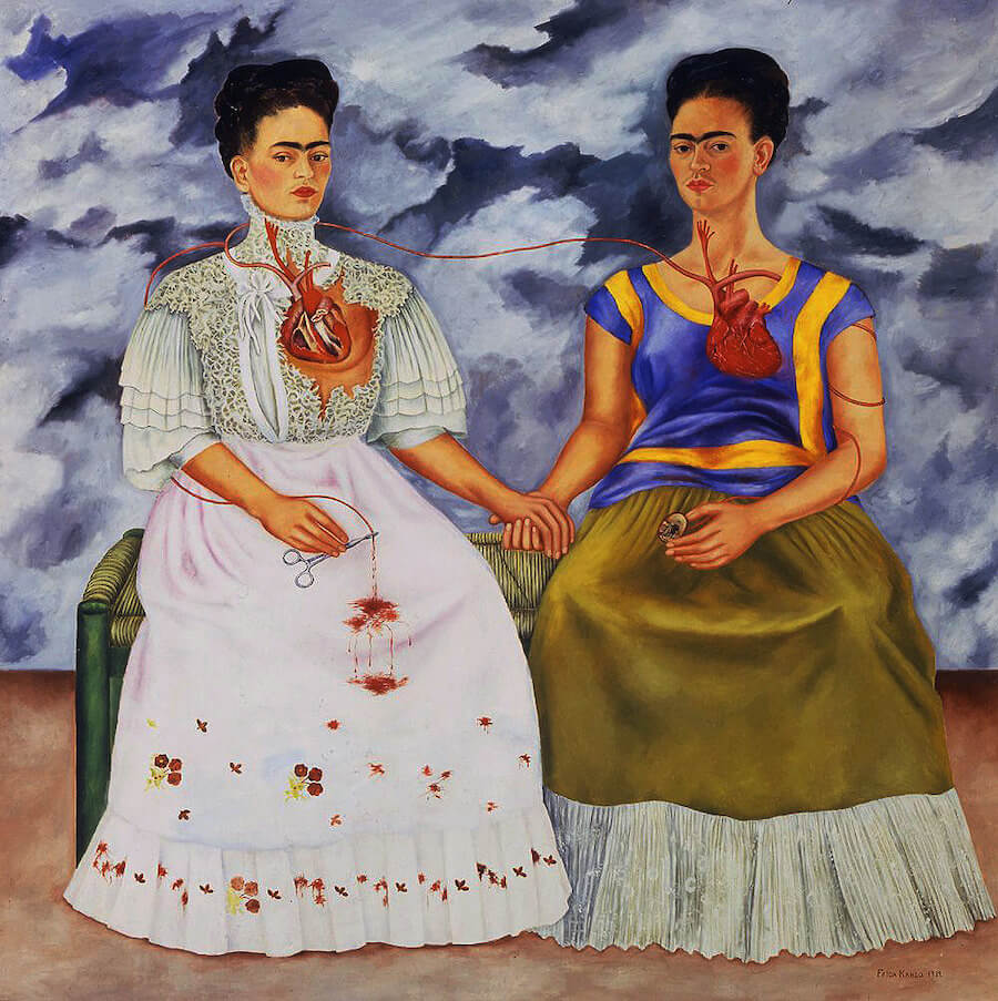 Painting of two women sitting together holding hands, with their hearts visable and connected.