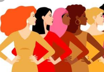A colourful drawing of women of all races looking ahead