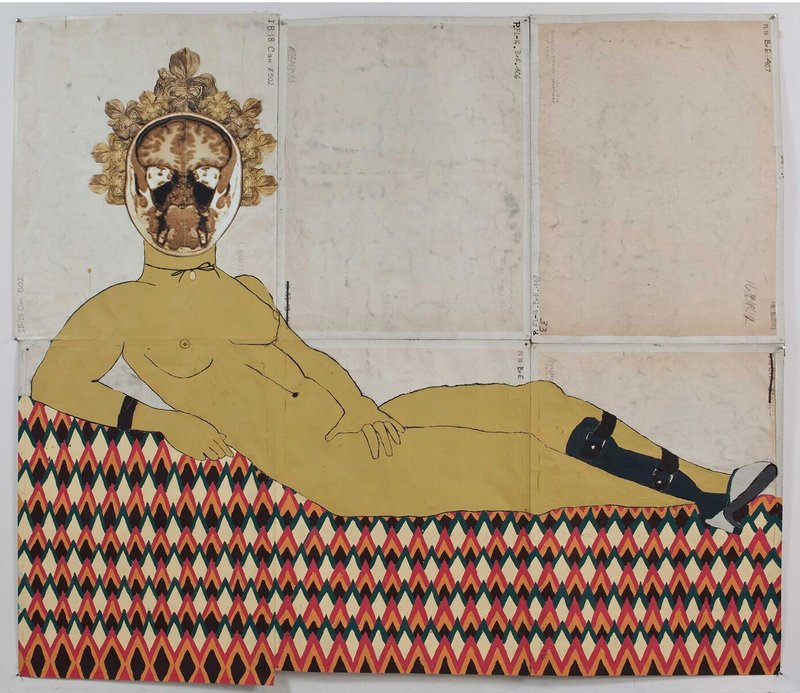 A painting of a woman long sitting on the bed-like platform with a brain image on the head and artifical leg piece