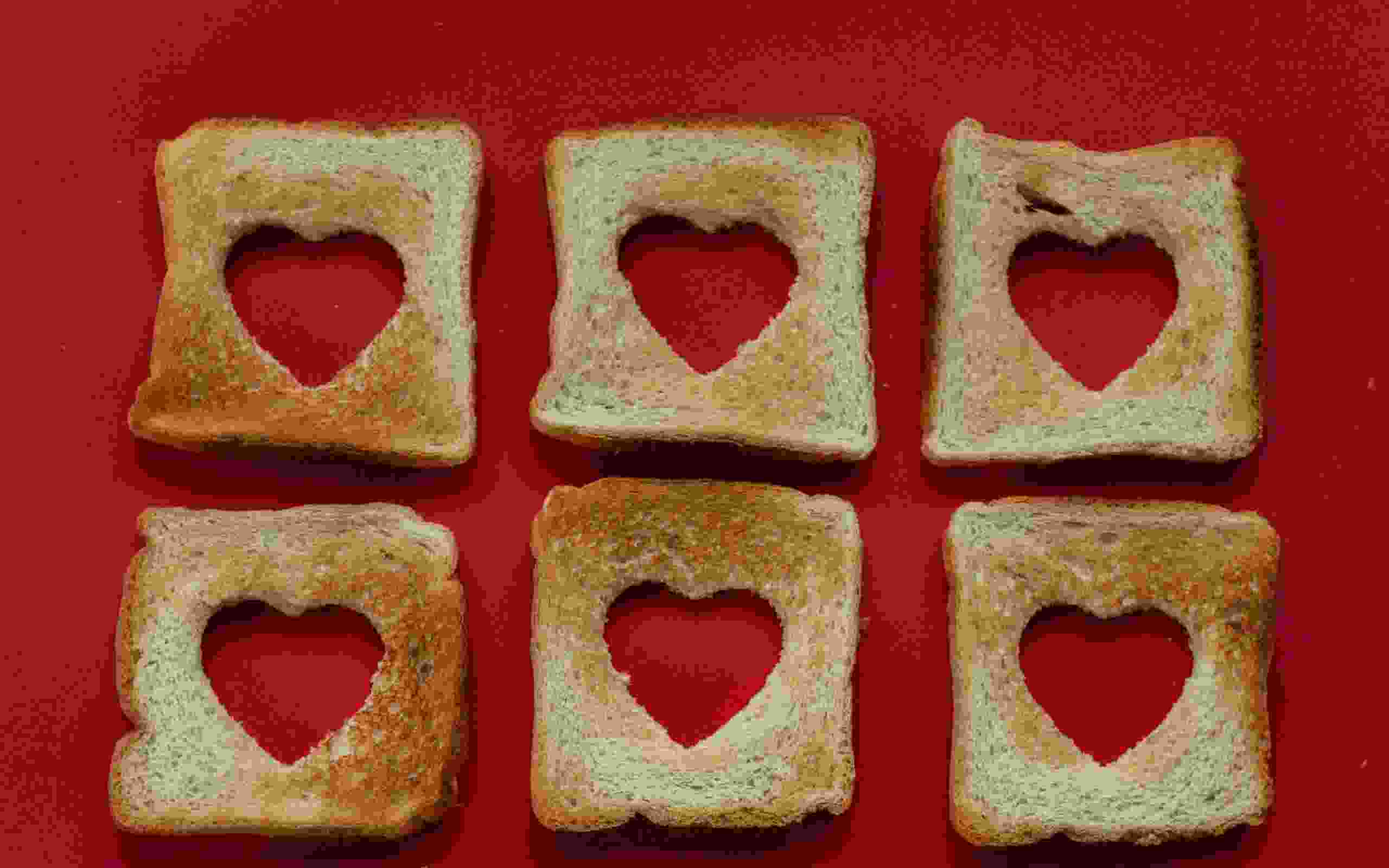 Sliced bread with hearts