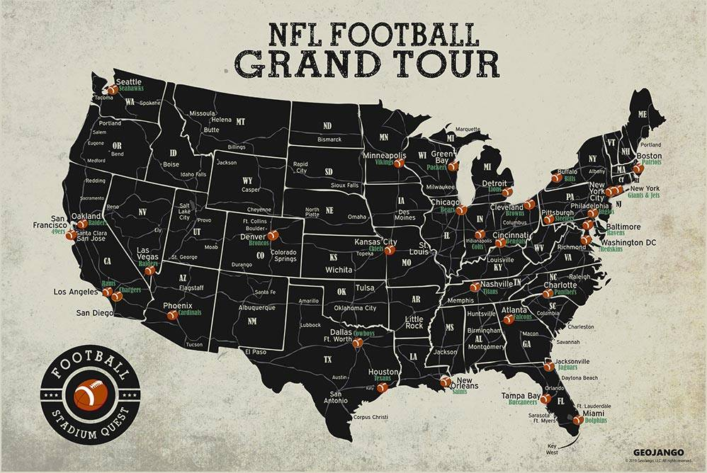 A map of the United States with every NFL stadium located.