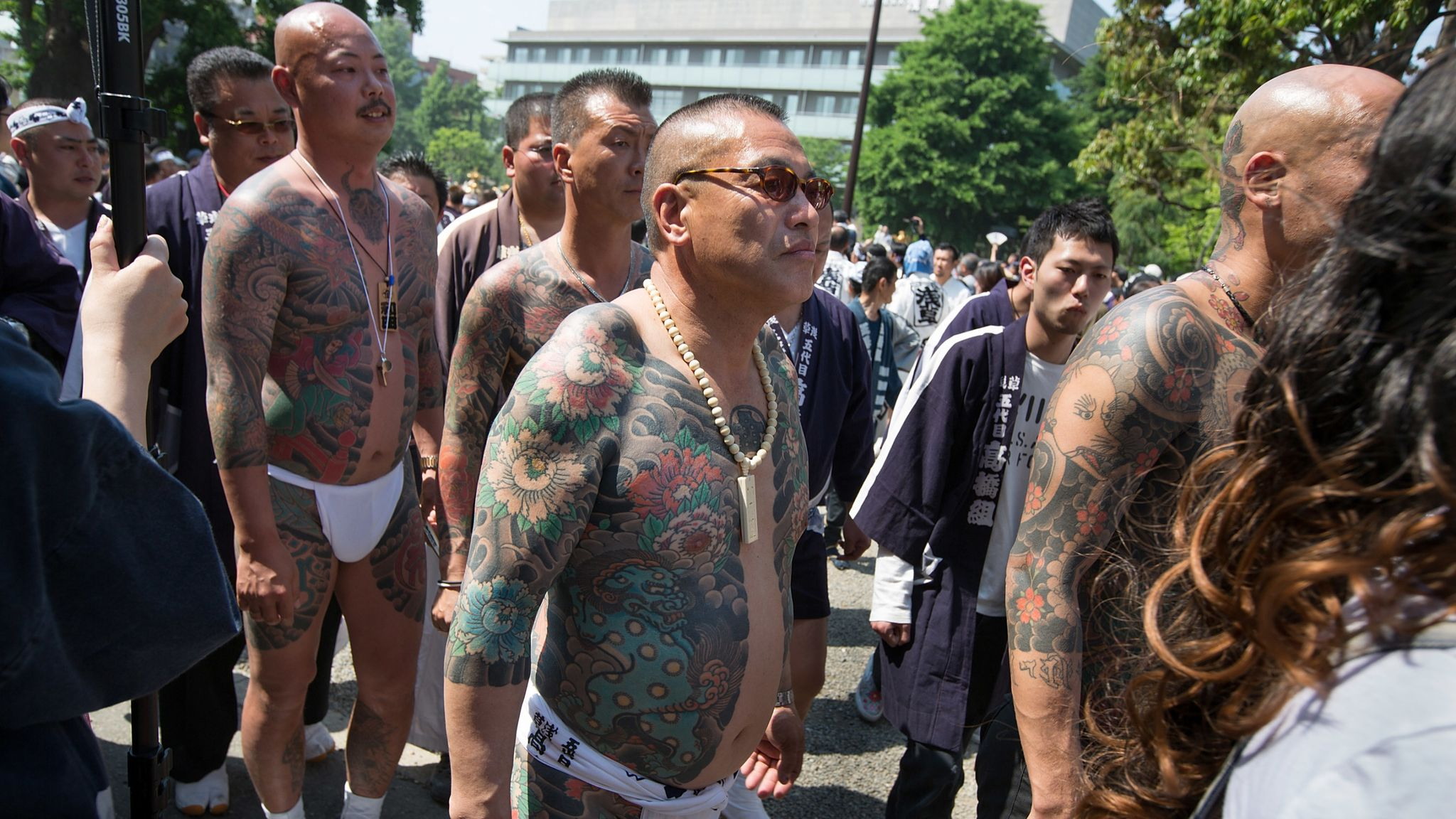 Members of the Takahashi-gumi gang are seen at a festival in the Asakusa district in Japan