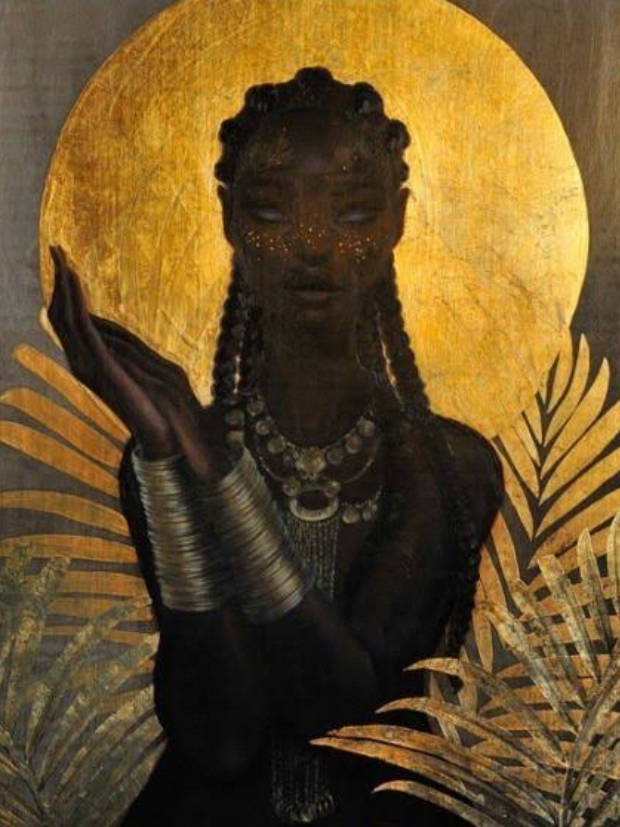 African Goddess wearing gold jewellery around her neck and hands. The moon behind her represents power.