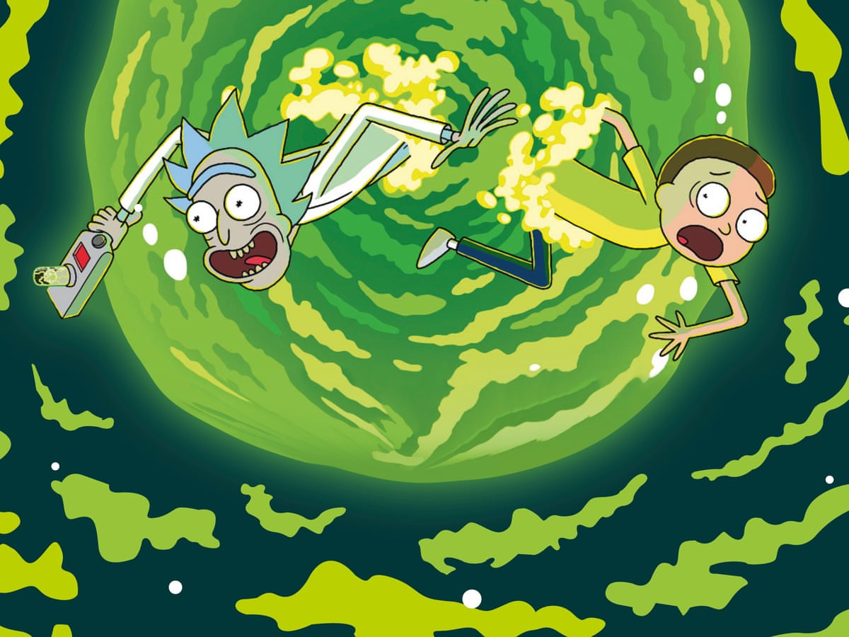 a colored image of animated characters Rİck and Morty being transported to another universe through a green portal