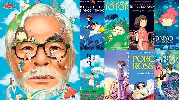 a collage study of Miyazaki's profile picture aligned with the movie affiches he has produced at the right of his picture