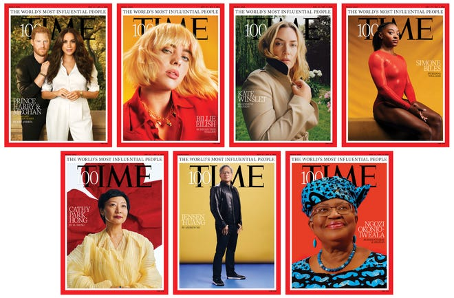 a collage work which brings 7 different Time next magazine covers portraying the most influential people of the year