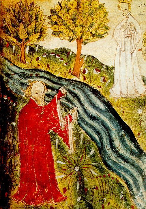 A painting of a scene from the anonymous Pearl poem. The dreamer, a man clothed in red, stands opposite the Pearl-maiden, a woman clothed in white. Between them is a river, and they are surrounded on all sides by grass and trees.