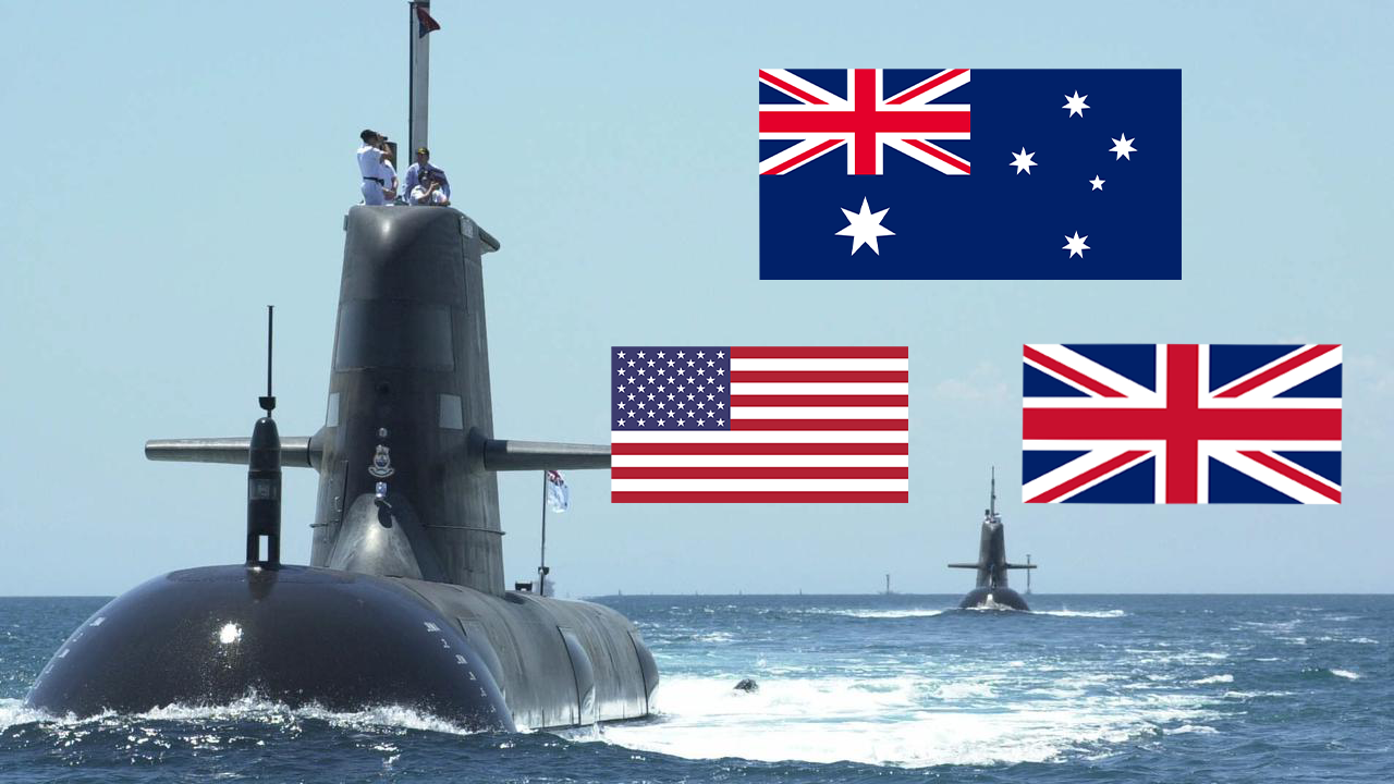 A submarine powers through the water and an Australian, British and American flag overlay the blue sky next to it