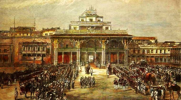 An artist's interpreation of an army and calavary, with their animals used in war, waiting in the courtyard as they wait for their king to come from the palace for orders.