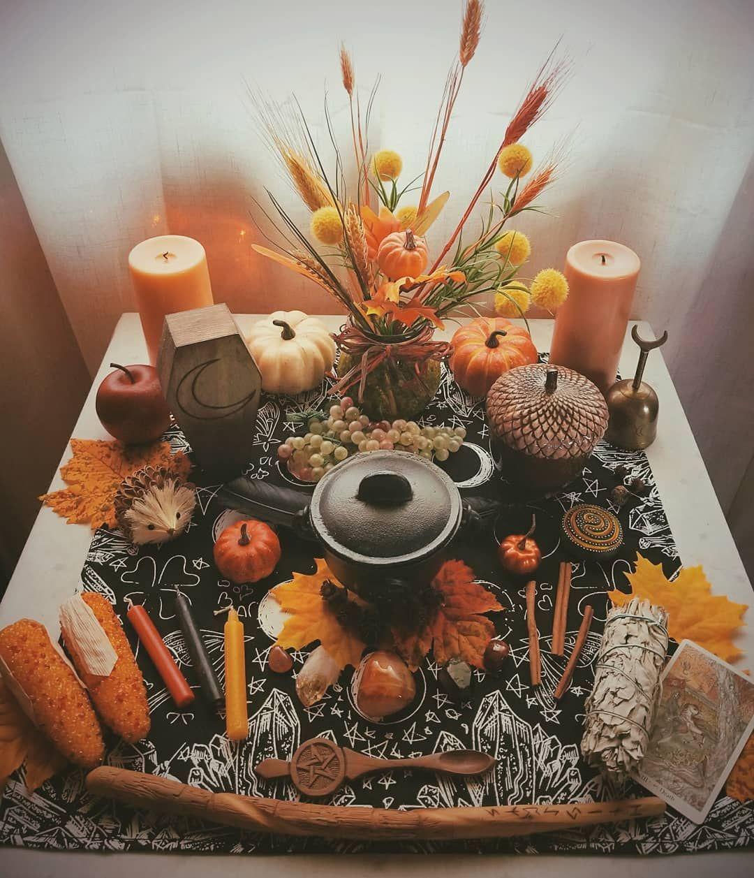 colourful mabon altar