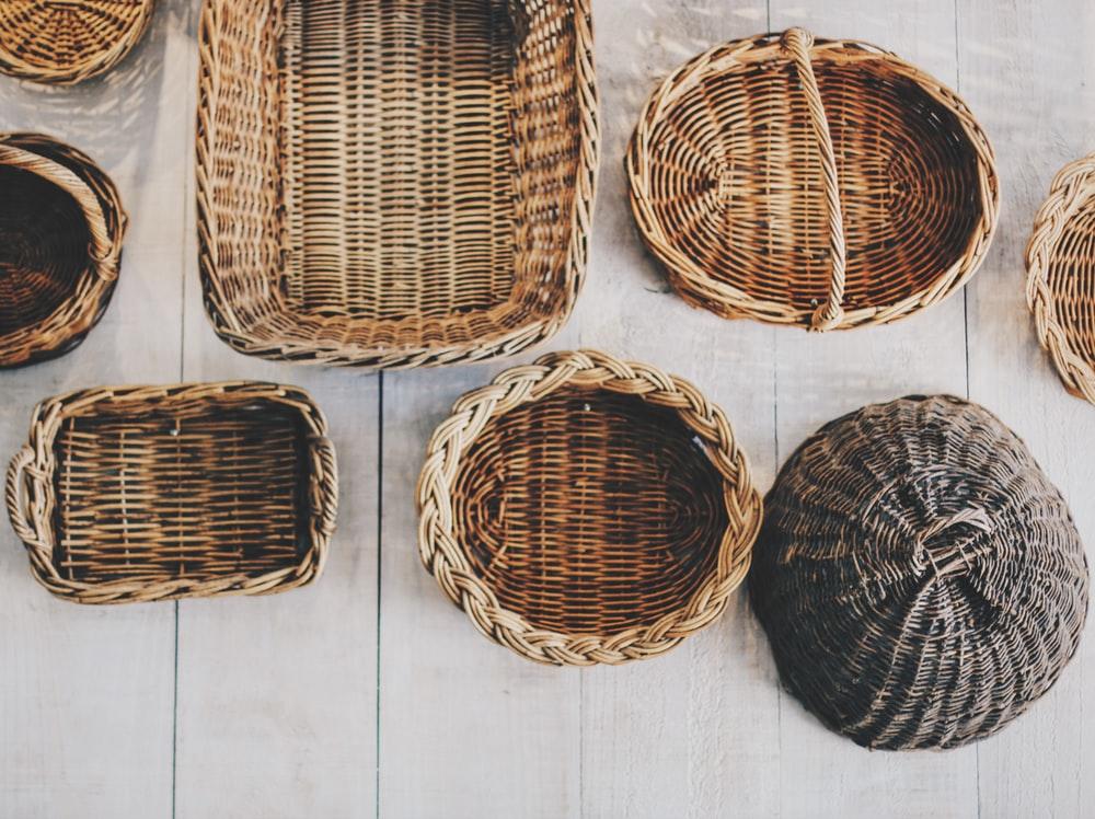 Wicker woven baskets