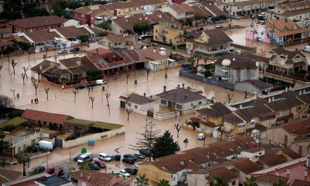 Flooded streets in the village of Los Alcázares in Murcia, Spain.