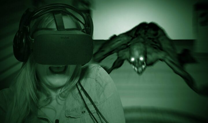 Woman wearing oculus rift in the dark