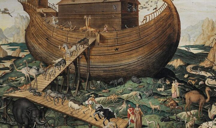 Illustration of the animals boarding the ark.