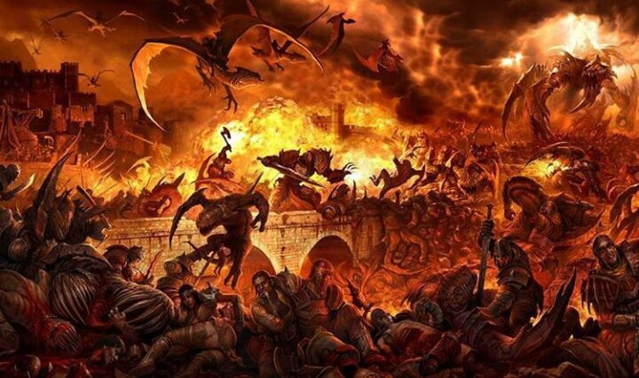 Dragons fly over burning buildings and piles of dead humans and creatures