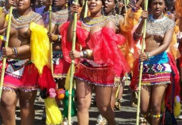 A group of virgin girls on their way to the Zulu Reed Dance