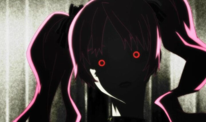 A light is slowly illuminating an animated girl with pink hair and glowing red eyes.