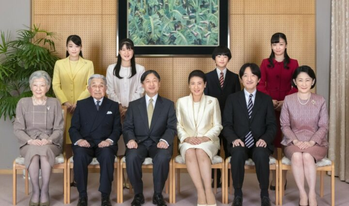 A photograph of the current Imperial Family of Japan, with the former emperor and empress, current emperor and empress, and crown prince and crown princess, seated, with their children standing behind them.