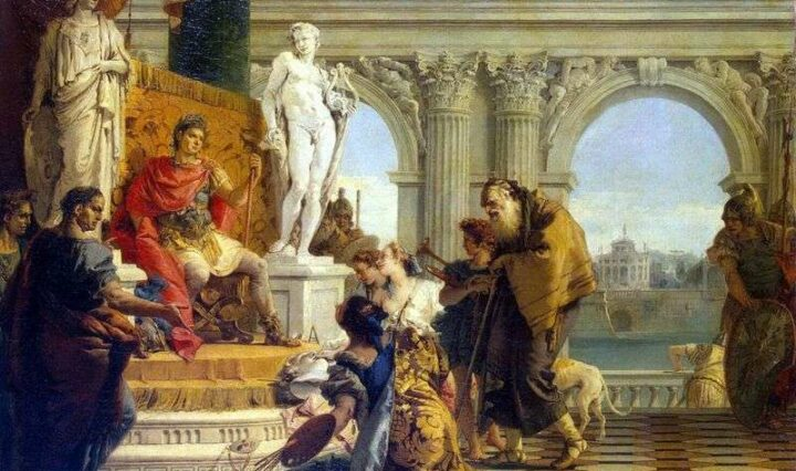 Patron to the arts Maecenas presents artists and musicians to his friend Emperor Augustus.