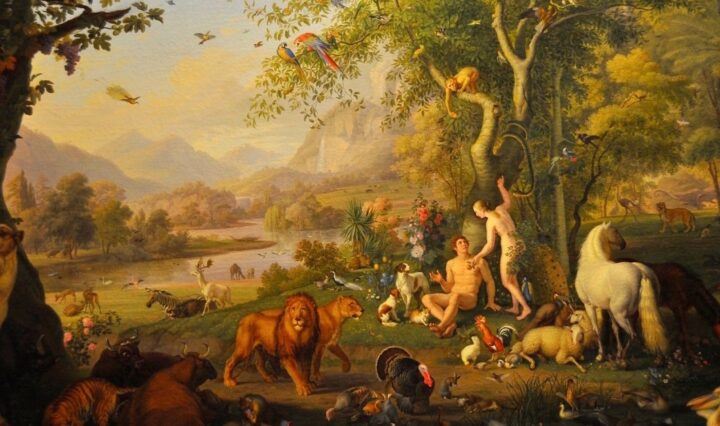 The image of Garden of Eden as Eve gives Adam apple surrounded by animals, lions walkin in the foregorund and at the backgound we see a river flowing ang mountains and trees