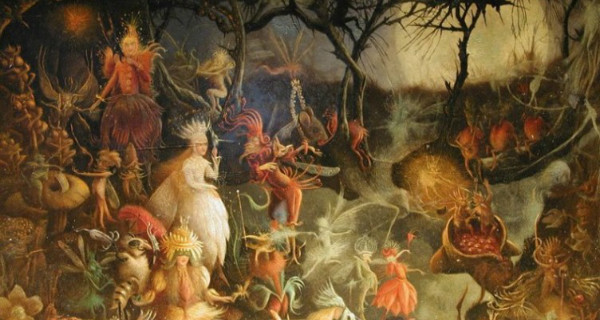 Painting of the festival of samhain people mystical creatures dancing in the woods